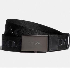 🆕 Coach Plaque Buckle Belt with Coach Print Black